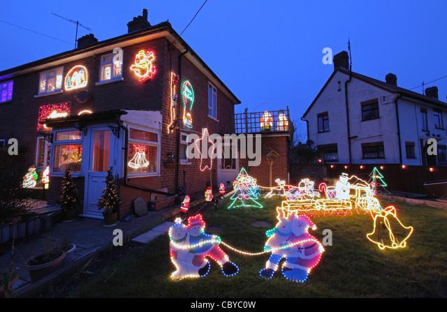 Christmas house exterior uk stock photos christmas house for External xmas decorations