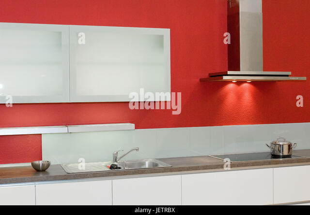 Kitchen Red Cupboards Stock Photos & Kitchen Red Cupboards Stock ... | {Küchenzeile pink 40}