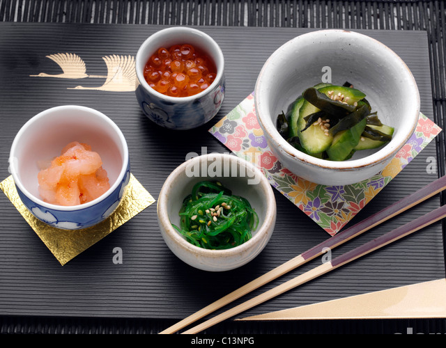 Sushi seaweed salad stock photos sushi seaweed salad for Fish eggs on sushi
