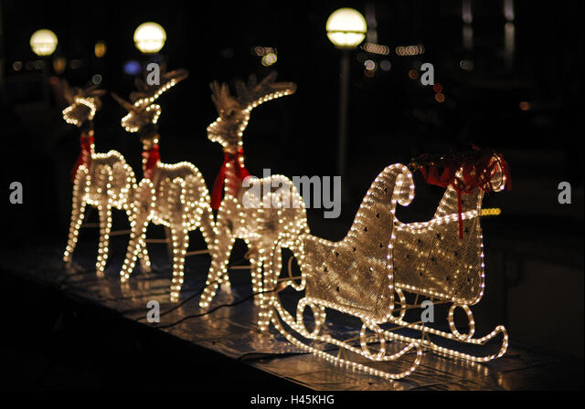 Reindeer Sleighs Light Hoses Night Stock Image