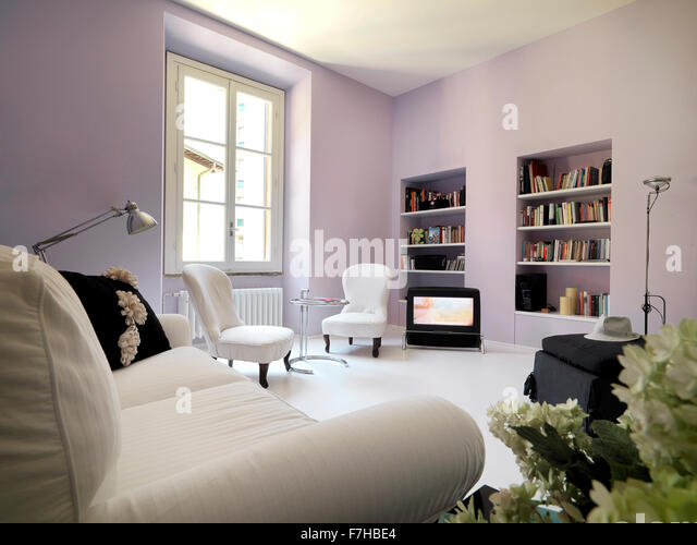 Room niche nobody stock photos room niche nobody stock for Lilac living room walls