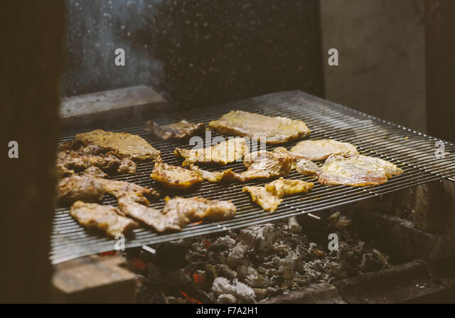 barbecue pork chops on charcoal stock photos barbecue. Black Bedroom Furniture Sets. Home Design Ideas