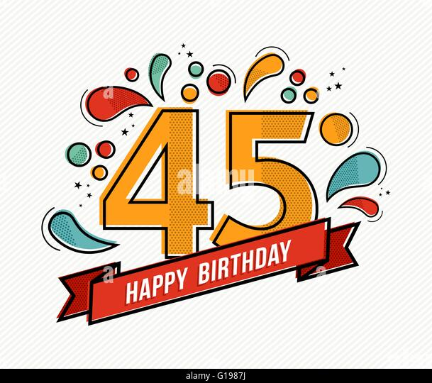 Happy Birthday 45th Birthday Cut Out Stock Images