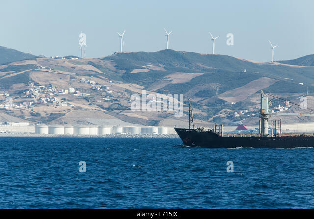 Morocco tangier strait gibraltar stock photos morocco - Moroccan port on the strait of gibraltar ...