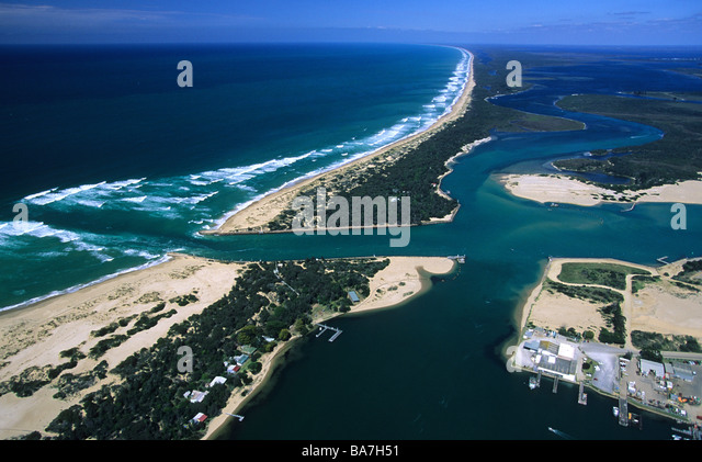 Aerial Photo Of Lakes Entrance And Ninety Mile Beach Victoria Australia Stock Image