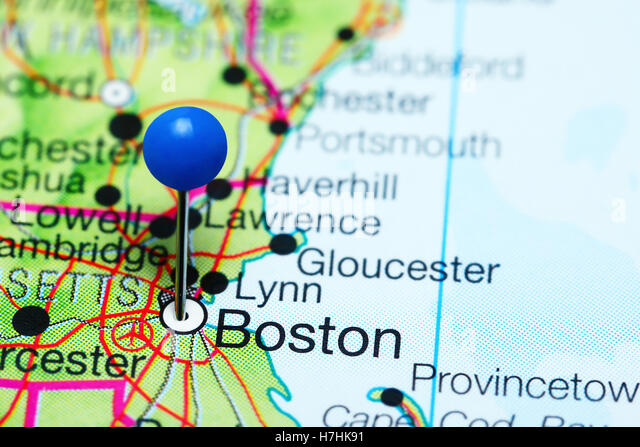 Boston Marked On The Map Of The Usa Stock Photos Boston Marked - Boston usa map