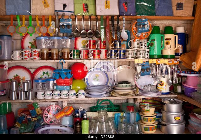 Shelves Full Of Kitchen Knick Knack   Stock Image