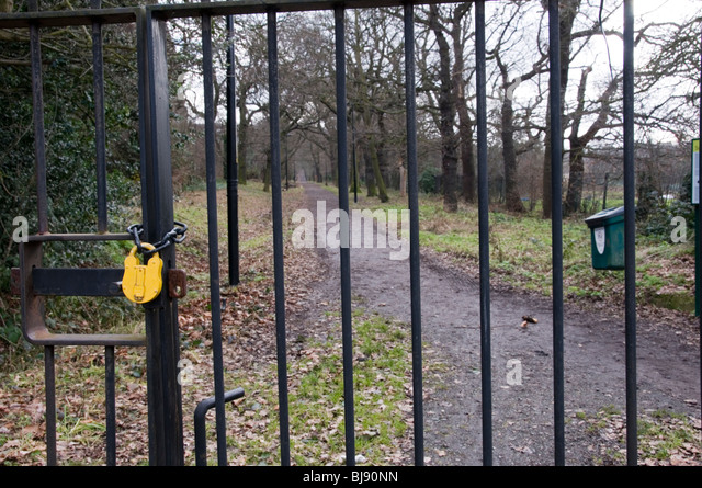 Padlocked Gate On Entrance To Sydenham Hill Wood South London England