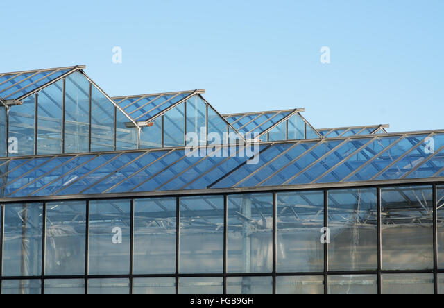 Roof Of Greenhouse With Glass Panels.   Stock Image