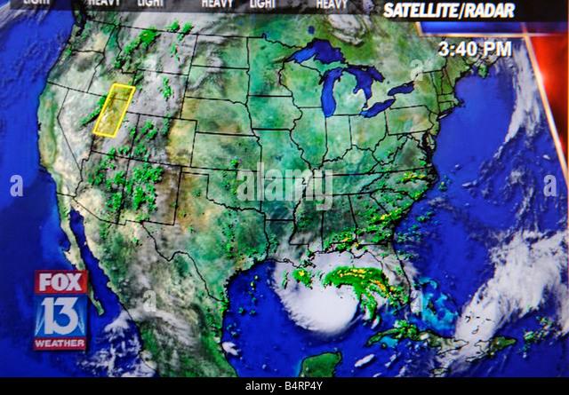Hurricane Satellite Weather Map Viewed Stock Photos Hurricane - Satellite weather map