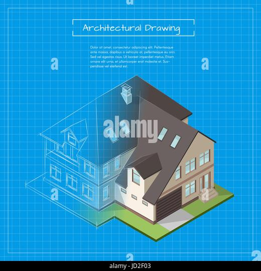 Wireframe blueprint stock photos wireframe blueprint stock images vector isometric 3d illustration of city building blueprint architectural background or project stock malvernweather Images