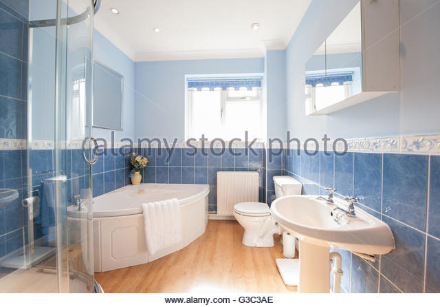 Blue And White Bathroom Suite   Stock Image