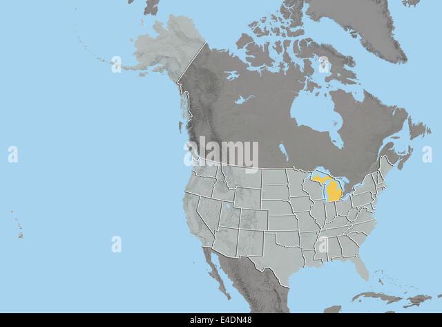 Physical Map Michigan Stock Photos Physical Map Michigan Stock - Physical map of michigan