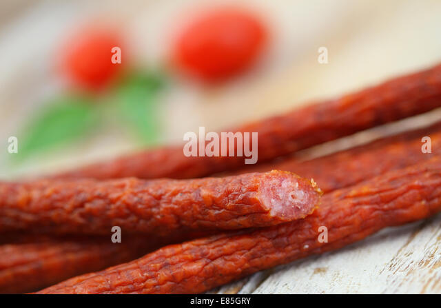 Traditional Thin Pork Sausages Closeup Stock Image