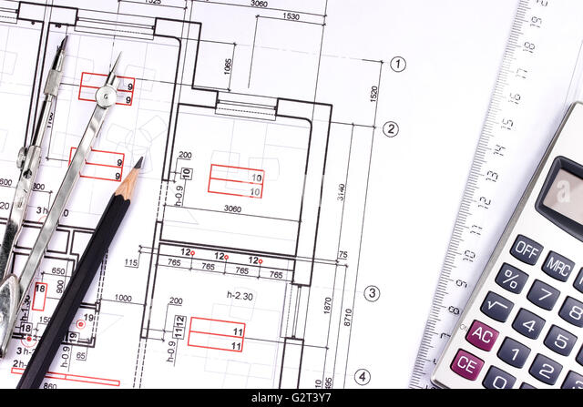 Building plan calculator ruler pencil stock photos for Build new house calculator
