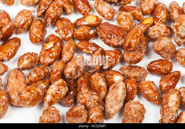 Fried almonds background - Stock Image