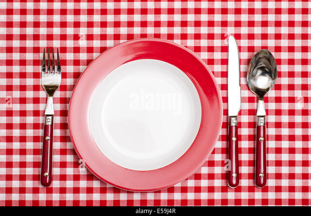 Red Place Setting With Red Checkered Table Cloth In A Restaurant   Stock  Image