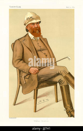 Major-General Sir Peter Stark Lumsden - portrait sitting. Vanity Fair caricature by Spy (real name Sir Leslie Matthew - Stock Image