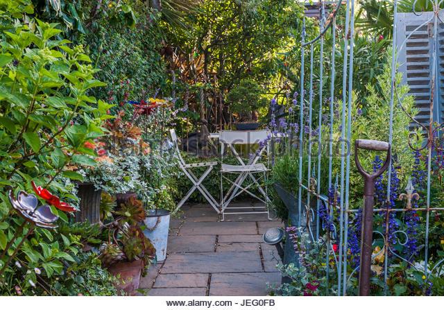 Secluded Garden Patio Garden Table Stock Secluded Garden
