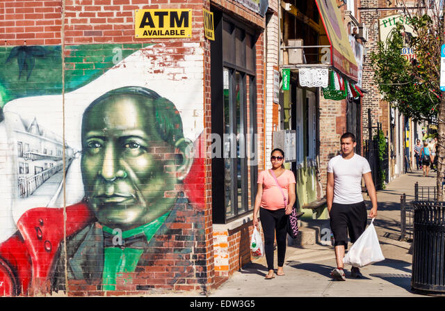 Illinois chicago adult mexican man stock photos illinois for Benito juarez mural