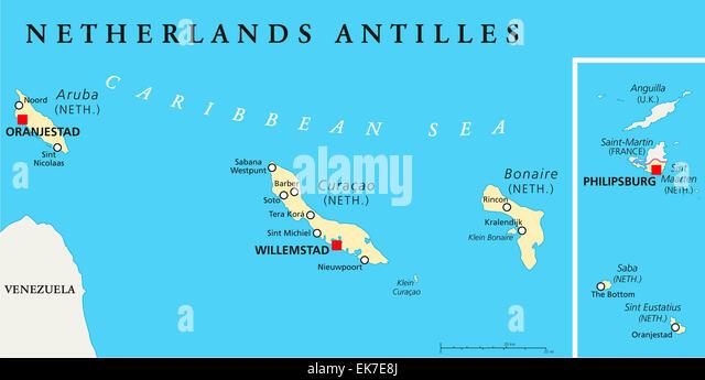 Netherlands Lesser Leeward Antilles Stock Photos Netherlands - Netherlands antilles aruba political map