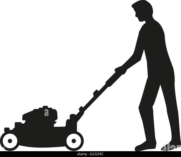 riding lawn mower silhouette. man using lawn mower silhouette - stock image riding