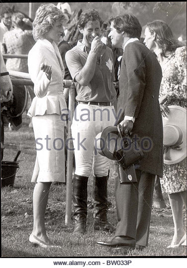 Diana and prince charles with hector and susan barrantes stock image