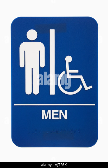 Men Restroom Sign With Handicap Access On White Background
