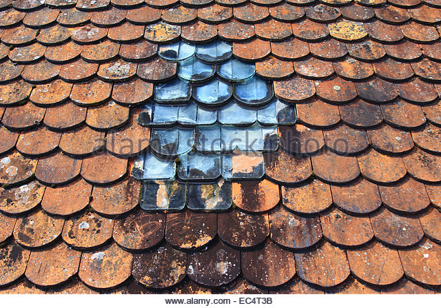 old roof with glass tiles - Stock Image