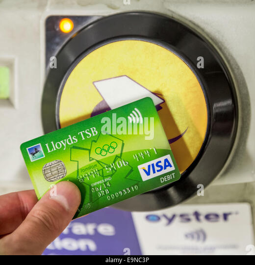Lloyds tsb visa stock photos lloyds tsb visa stock images alamy contactless lloyds tsb visa card being used for travel payment at london underground station reheart Image collections