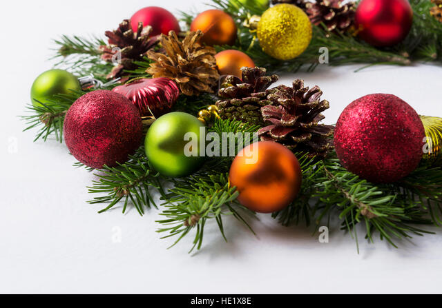 Glass pine branches stock photos glass pine branches for Red and yellow christmas tree