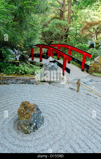 Japanese zen garden stock photos japanese zen garden for Zen garden bridge