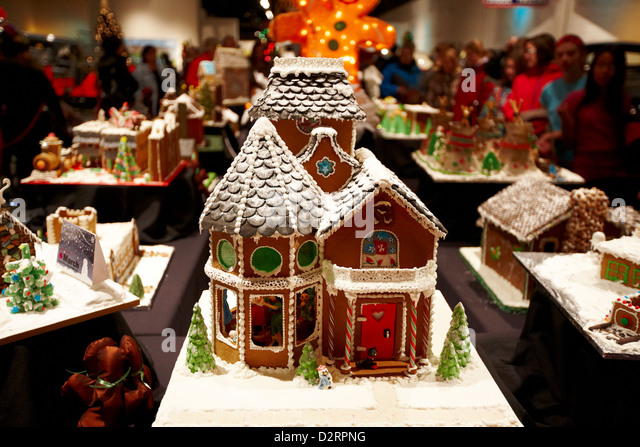 Gingerbread house display stock photos gingerbread house display