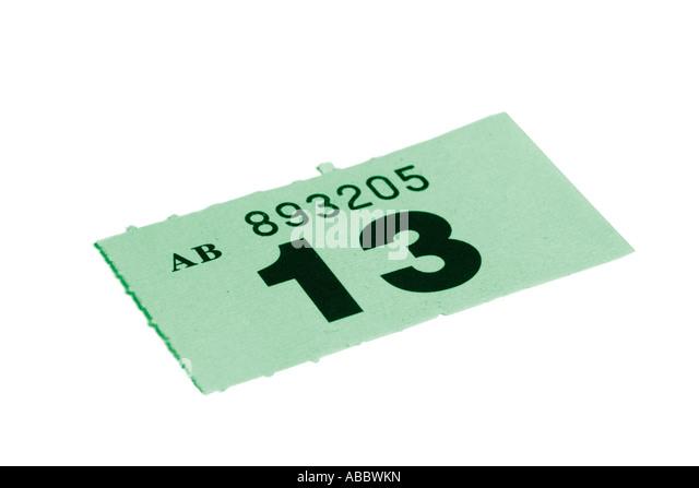 Raffle Ticket Stock Photos & Raffle Ticket Stock Images - Alamy Raffle ticket with number thirteen - Stock Image