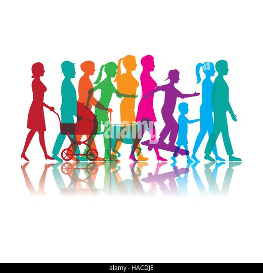 Colored People Art Roller Skate Running Stock Photos