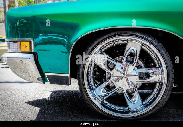 a classic 1970u0027s car with updated tires stock image