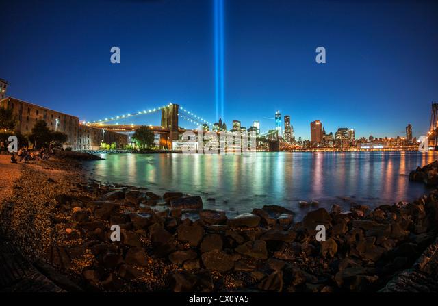 Memorial Lights Stock Photos Memorial Lights Stock - Two beams light new yorks skyline beautiful tribute 911