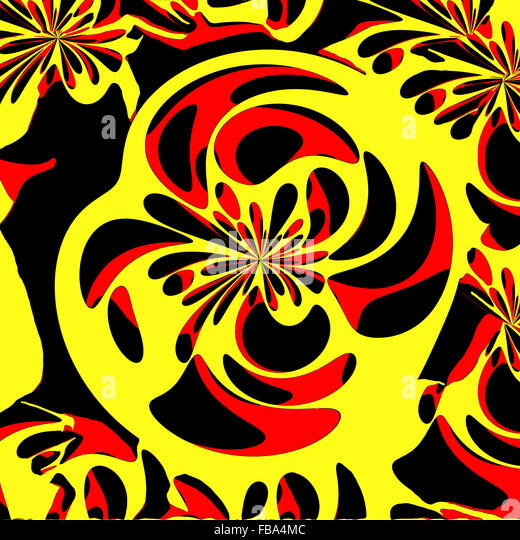 Layered Abstract With Vivid Contrasting Colors In Yellow Red And Black Digital Art