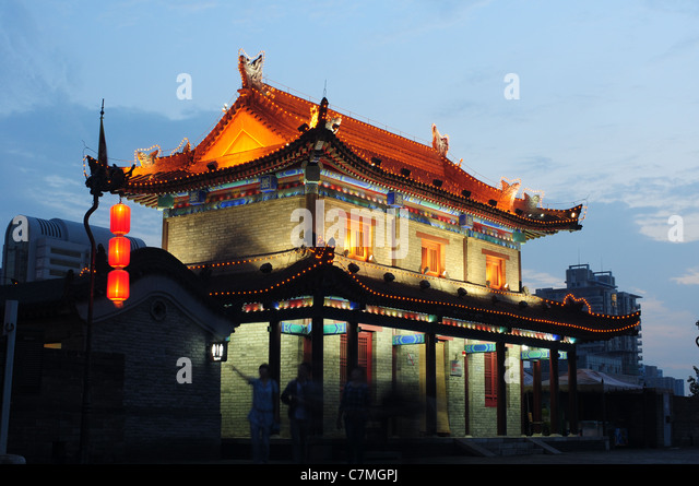 Night Scenes Of The Famous Ancient City Xian China