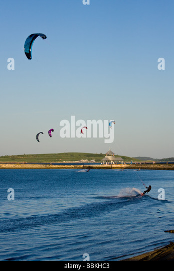 Kite Surfing On Pleasure Bay At Carson Beach In South Boston