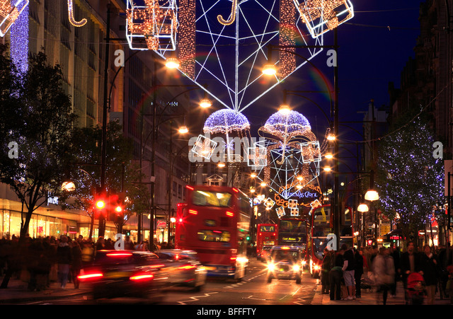 Christmas Decorations From Uk : Oxford street christmas lights stock photos
