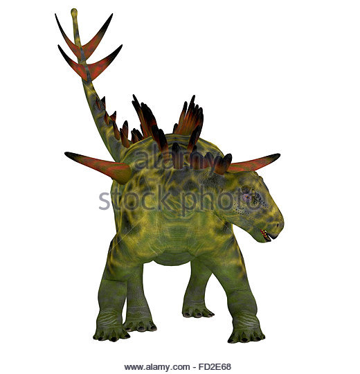 Huayangosaurus Dinosaur Front View Was An Armored Herbivorous That Lived In The