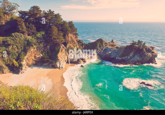 McWay Waterfall in Big Sur, California, USA - Stock Image