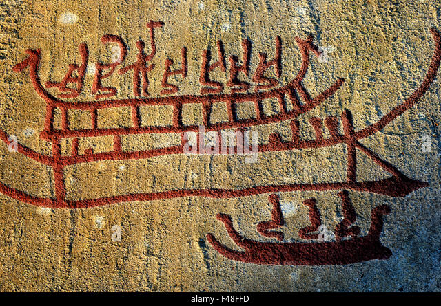 Rock carvings sweden stock photos