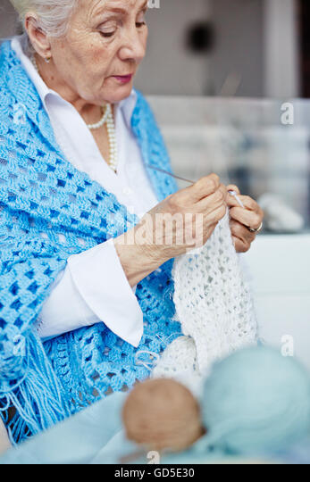 Grandma Knitting Spaghetti : Granny knitting stock photos
