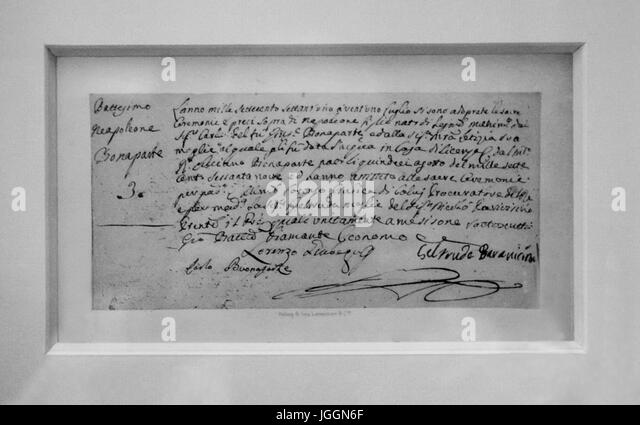 The house of Napoléon in Ajaccio :Baptism certificate of Napoleon - Stock Image
