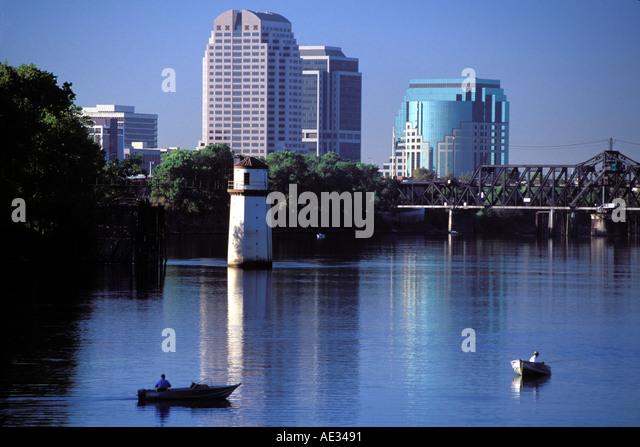 California, Sacramento, Fishing on the Sacramento River Stock Photo