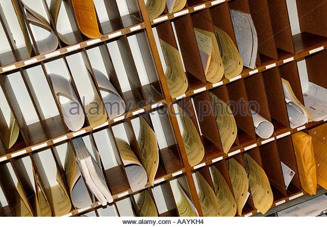 Perfect Office Mail Slots Boxes Room   Stock Image