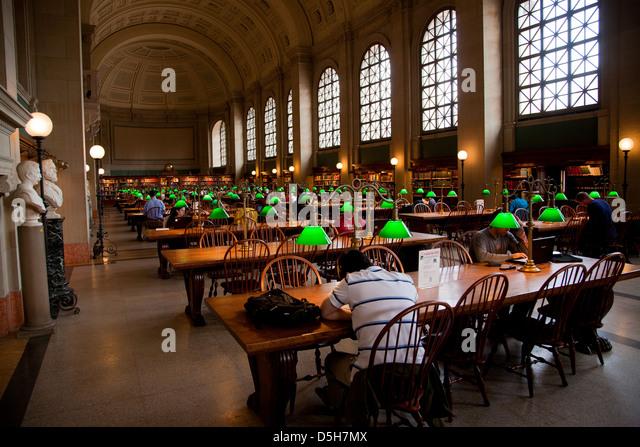 Interior View Of Reading Area Of Historic Boston Public Library, McKim  Building, Boston,