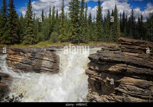 Maligne Waterfall Maligne Canyon National Stock Photos